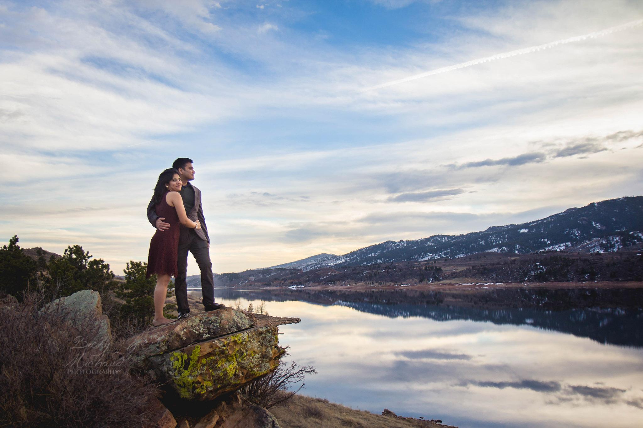 Couple overlooking Horsetooth Reservoir