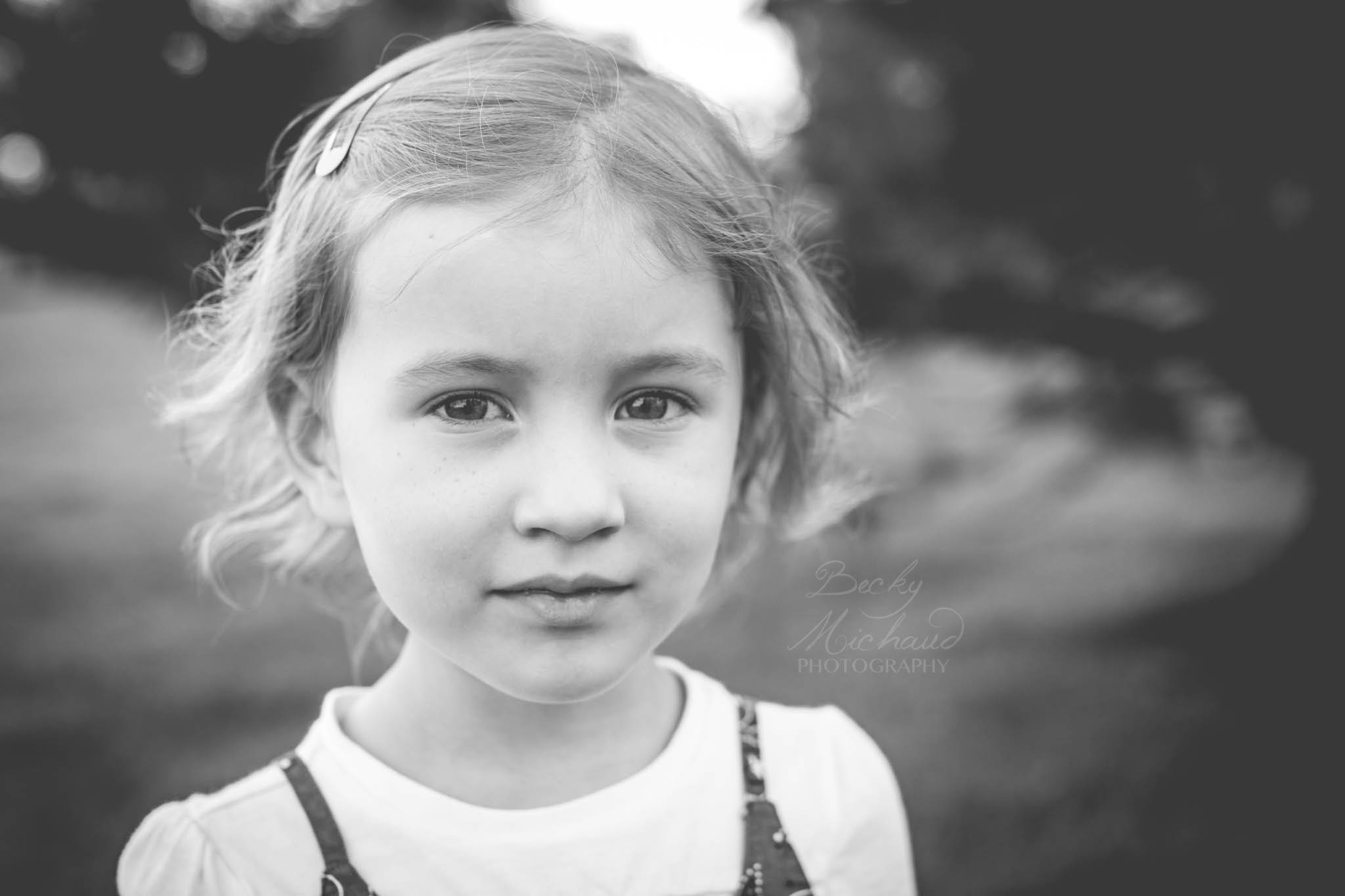 Black and white portrait of a Northern Colorado girl