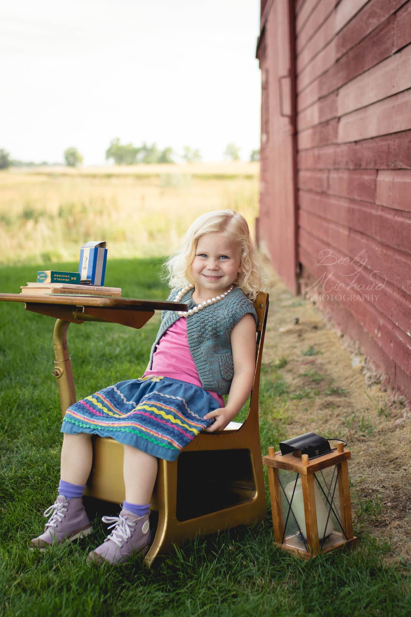 Fort Collins back to school photo using a vintage desk