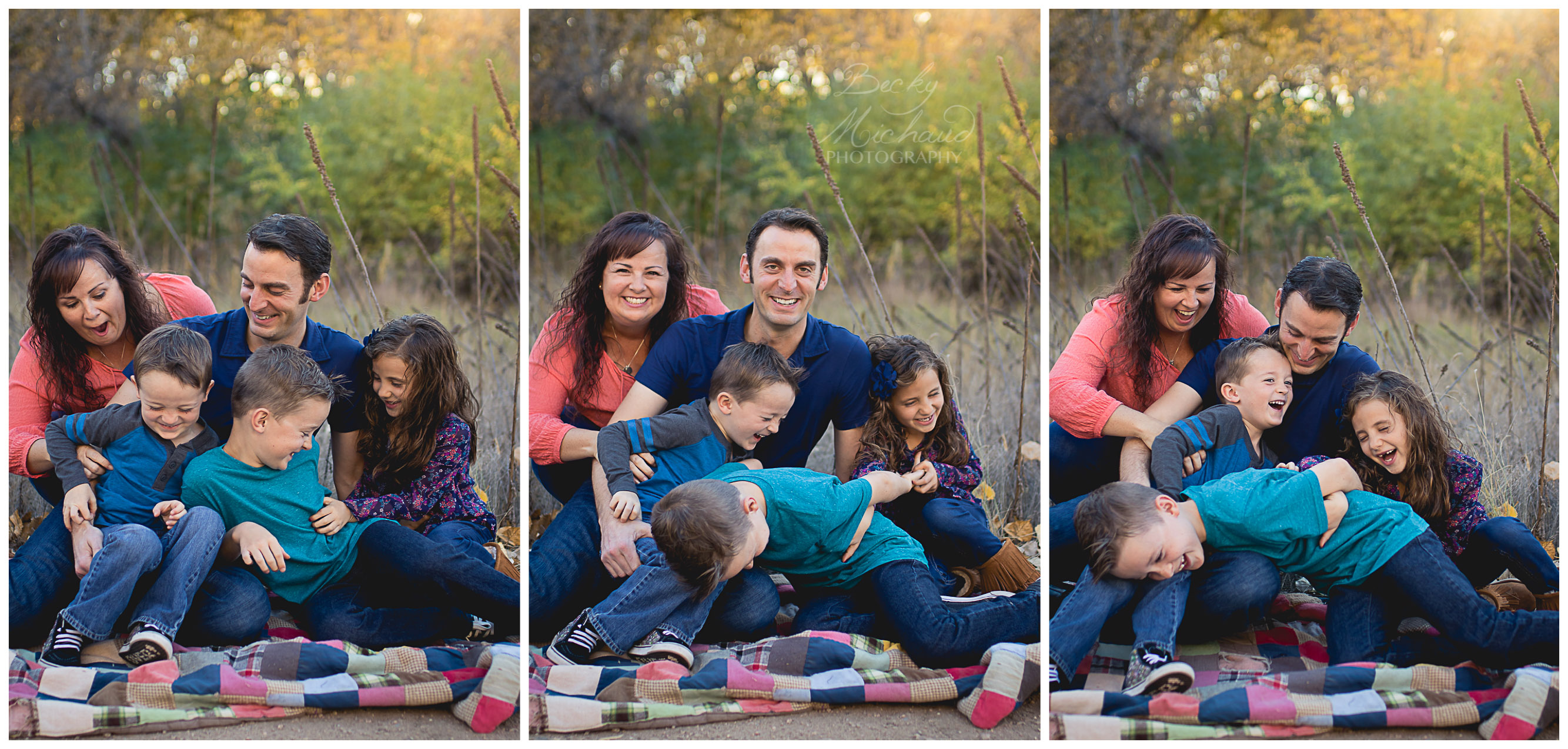 Collage of three photos showing a family tickling each other