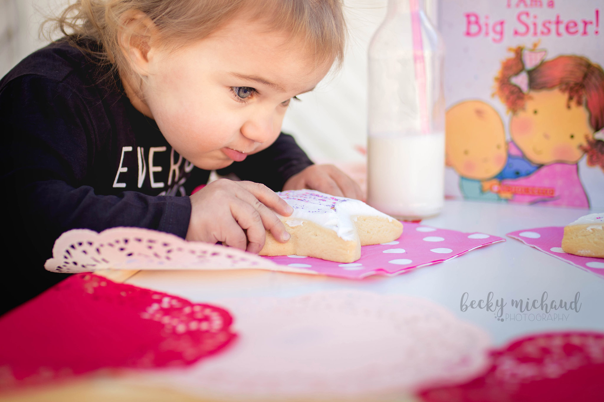 A toddler eating a cookie for a valentines day themed photo session