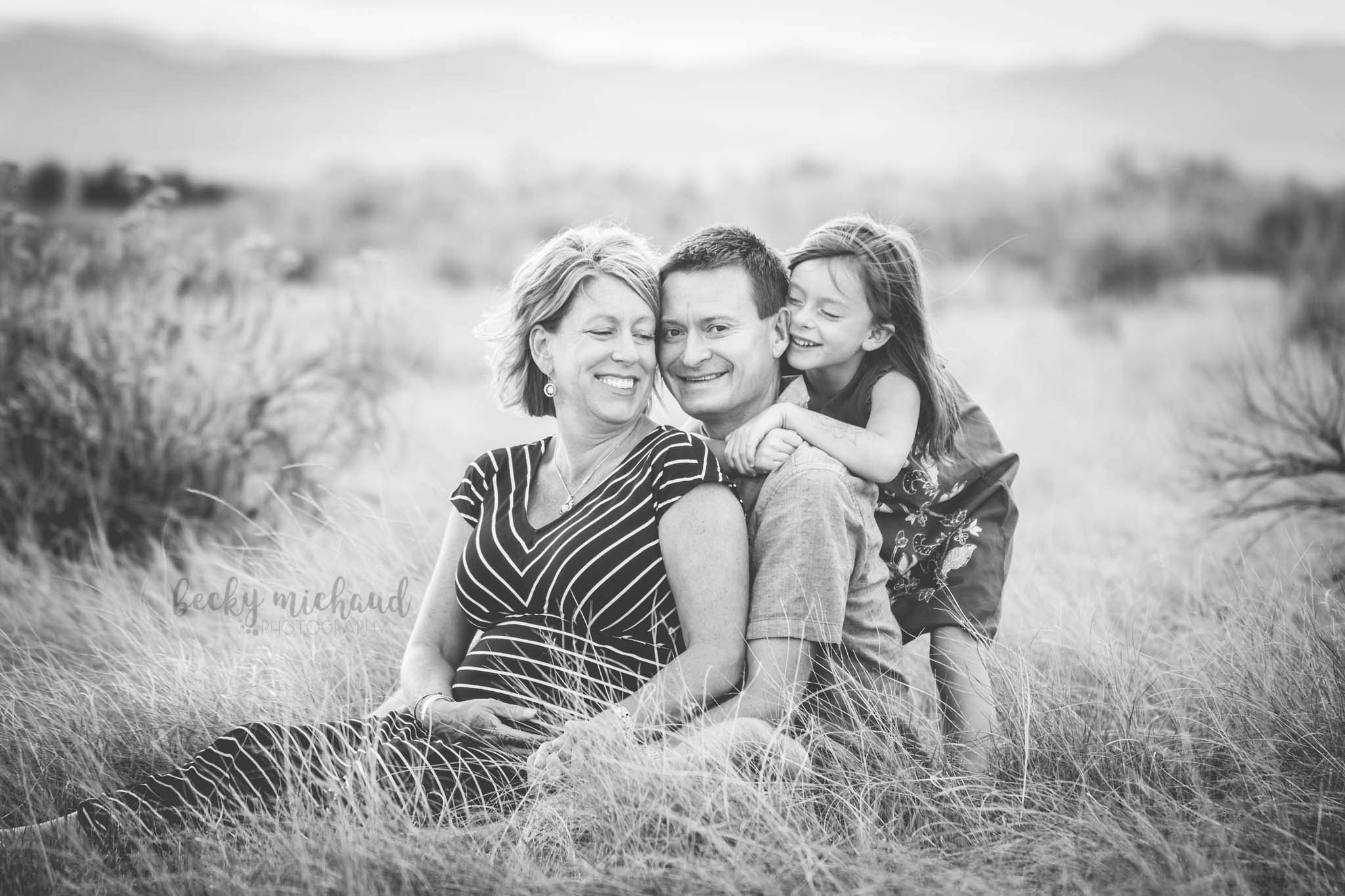 black and white portrait of a family outdoors