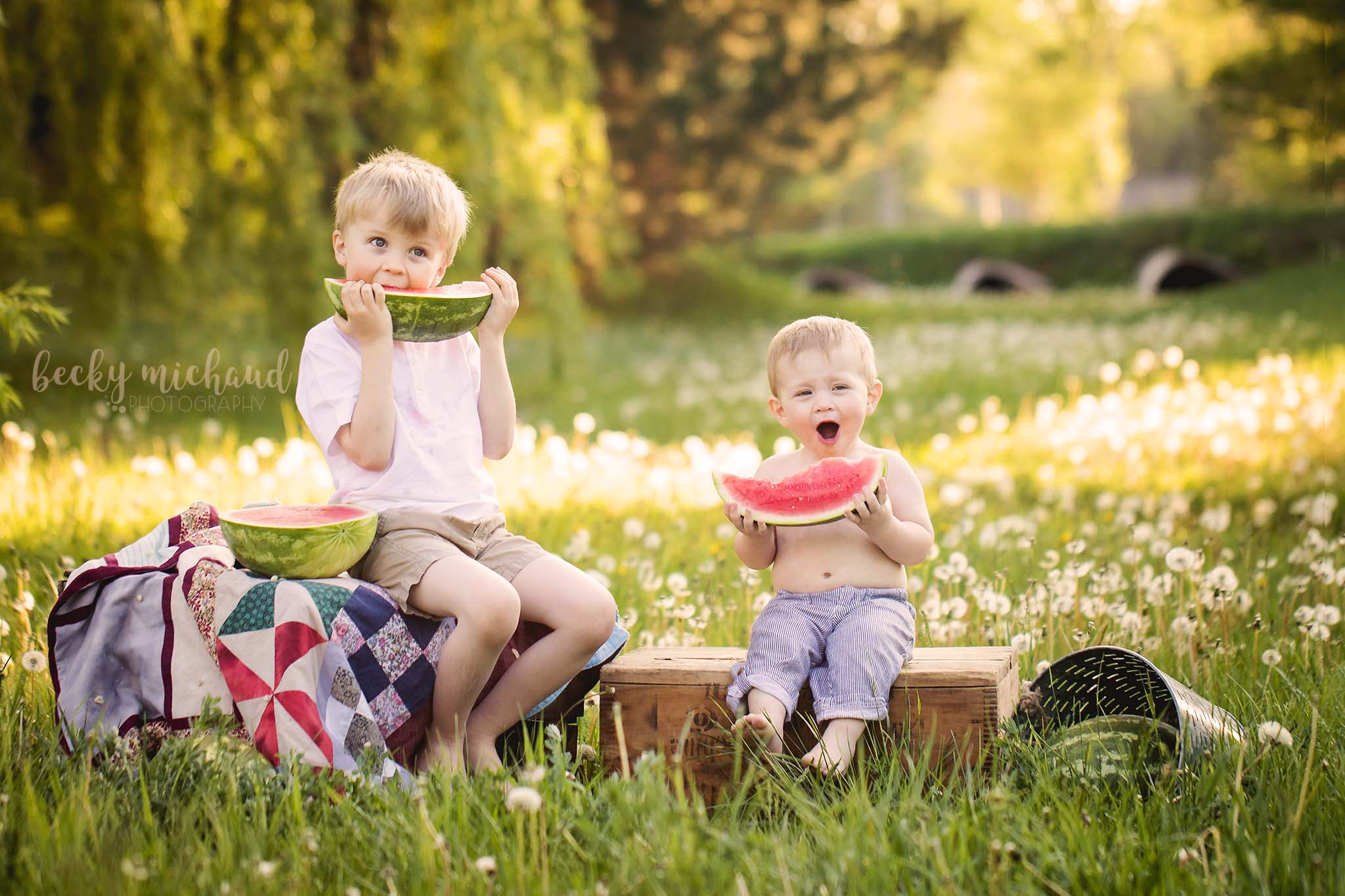 Watermelon mini sessions in Fort Collins by Becky Michaud, family photographer