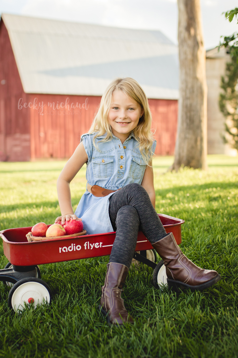 A girl sits in a wagon with a basket of apples in front of a red barn for Fort Collins mini sessions by Becky Michaud