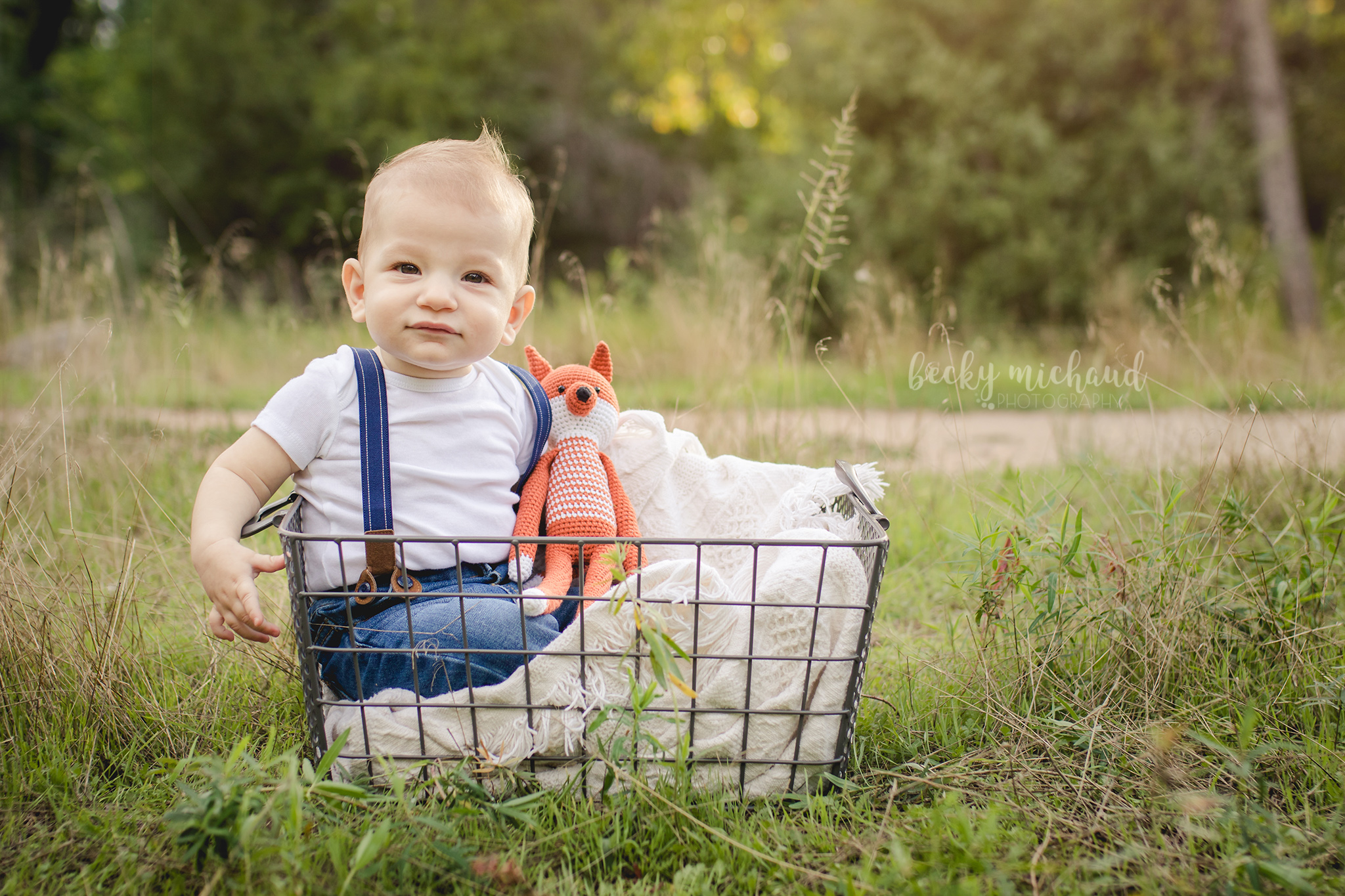 A six month old boy in a wire basket with a little knit fox toy in a field in Fort Collins