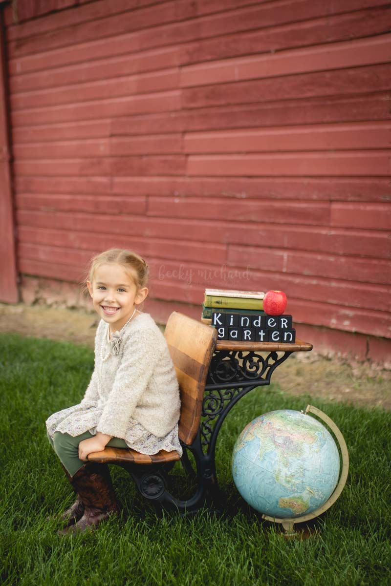 Child portrait using vintage props taken by Becky Michaud, Fort Collins photographer