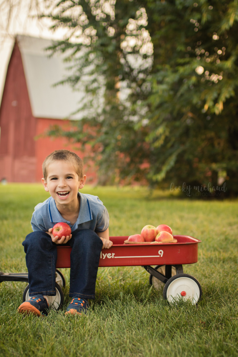 A boy sits in a wagon while holding an apple on a farm