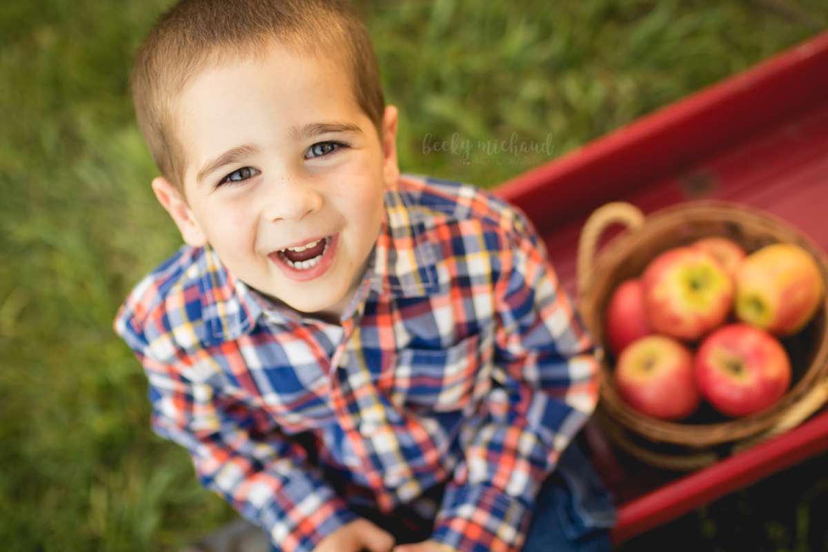A little boy laughs as he sits in a wagon next to some apples