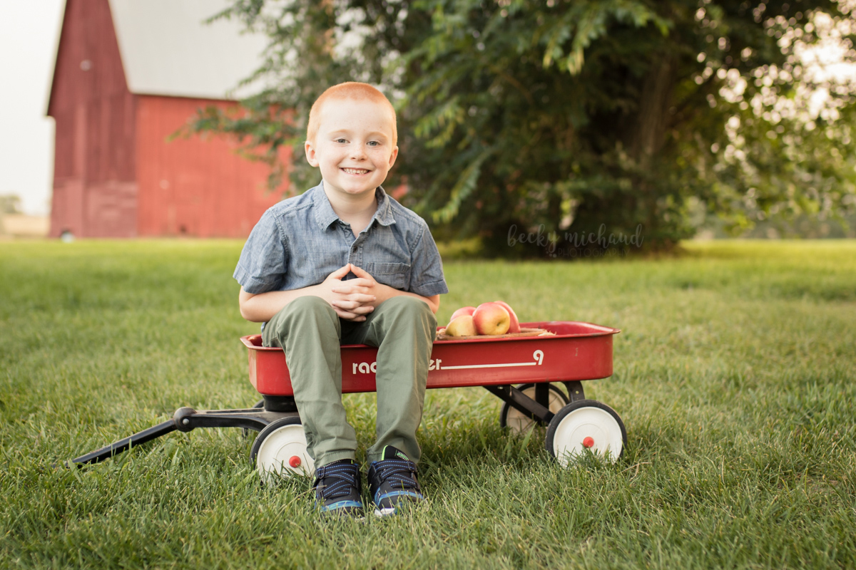 A boy sits in a radio flyer wagon in front of a red barn