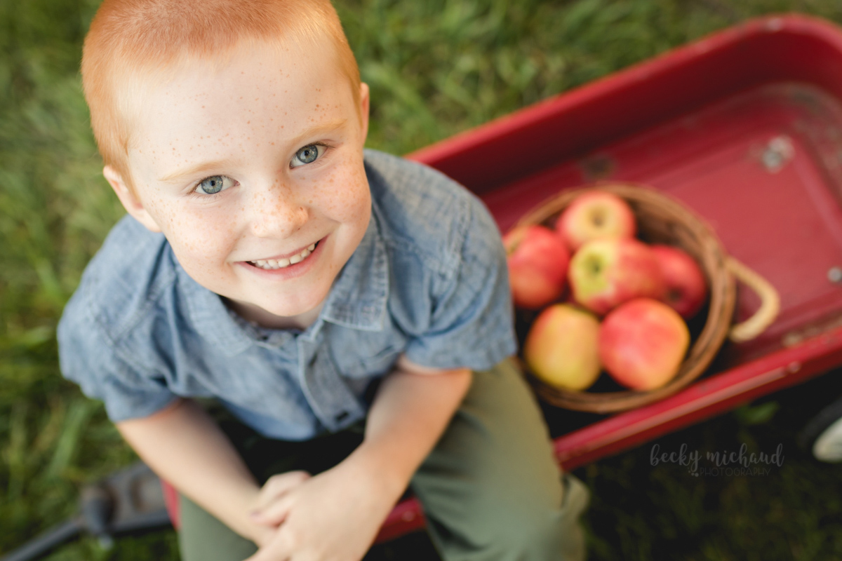 Overhead shot of a boy sitting in a wagon with a basket of apples