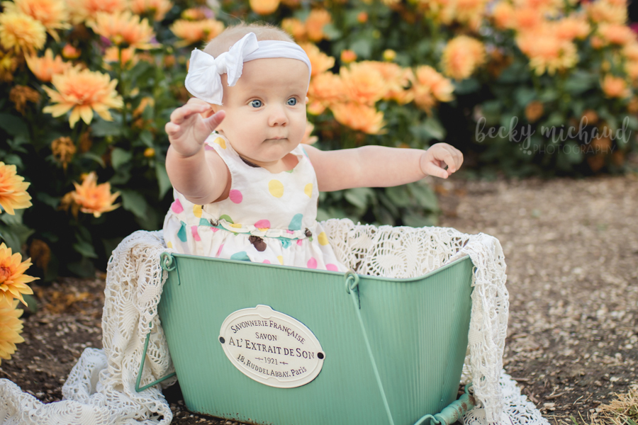A baby girl sits in a teal basket by some orange flowers