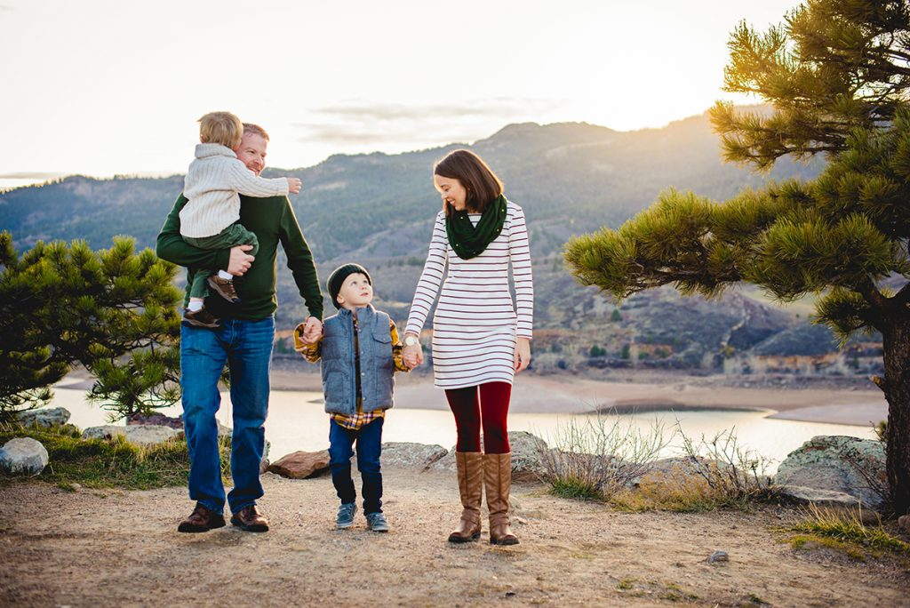 Becky Michaud, Fort Collins family and newborn photographer, with her family at Horsetooth Reservoir