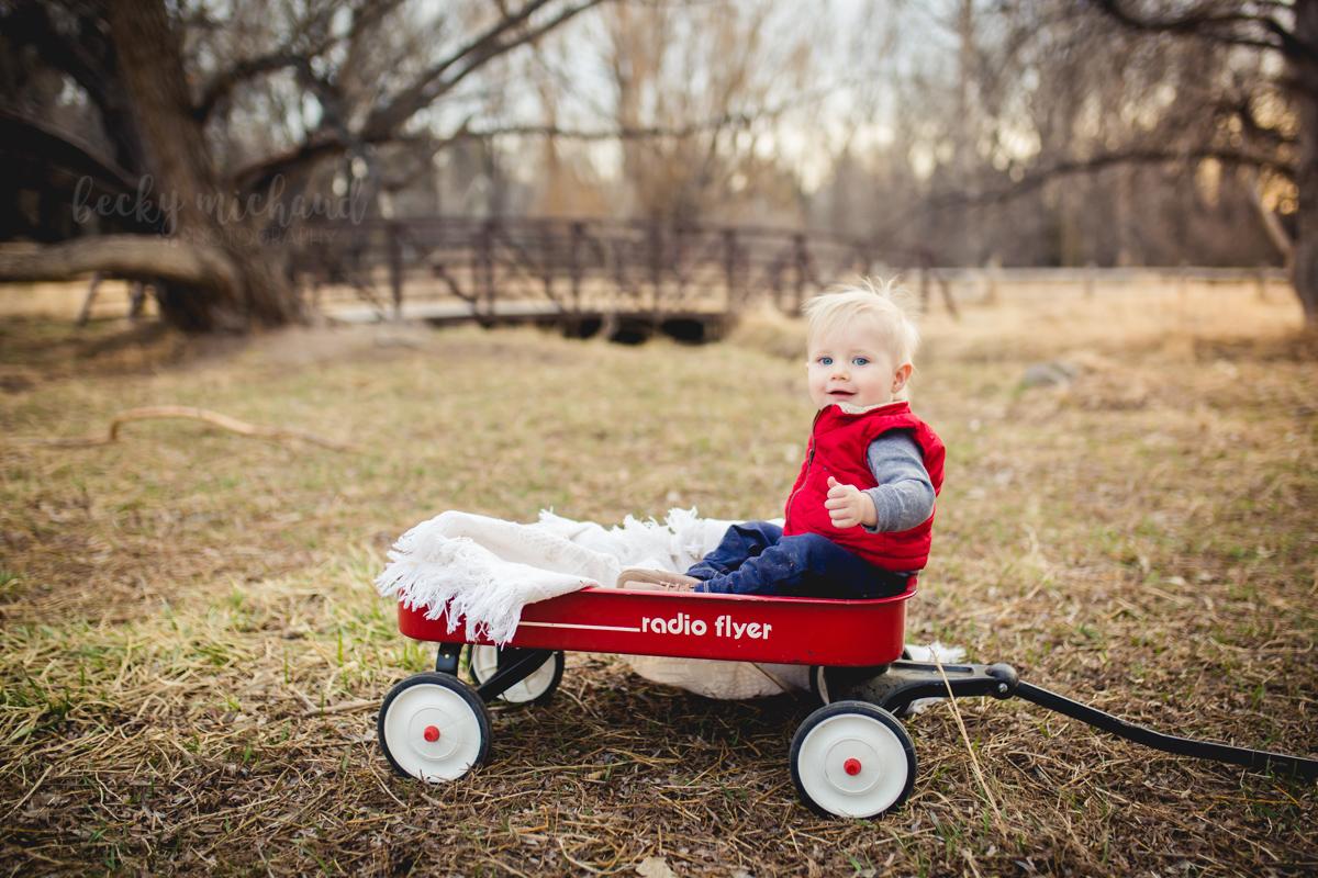 A boy sits in a red Radio Flyer wagon in front of a bridge over Spring Creek