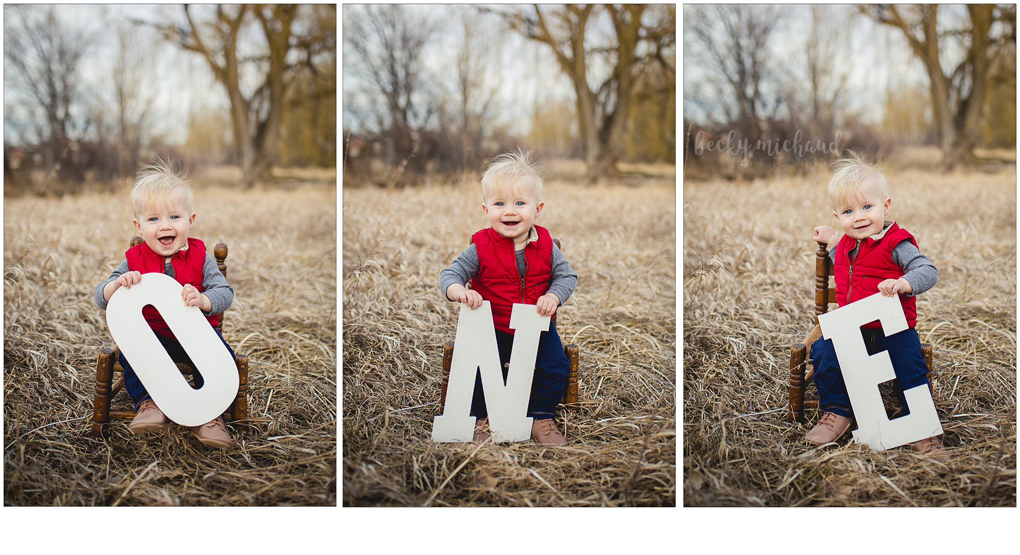 One year old portraits using big white letters spelling ONE