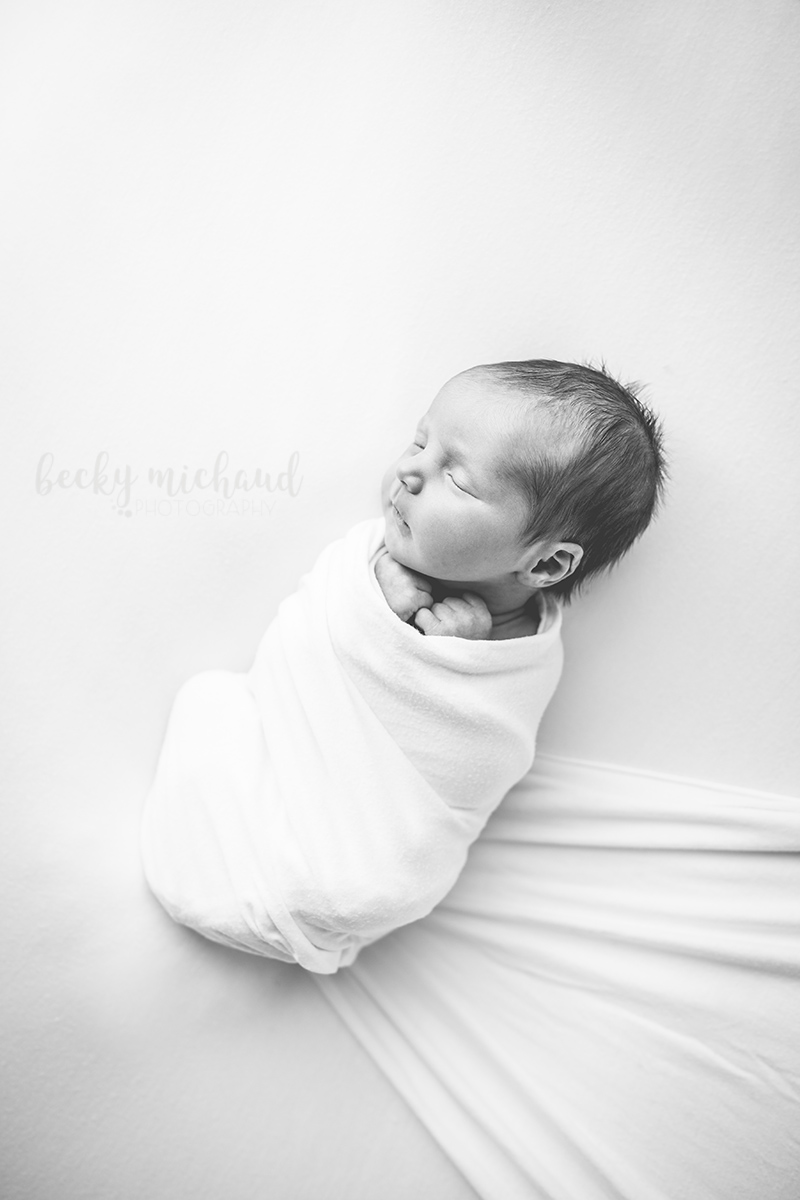 black and white photo of a newborn baby taken by Becky Michaud, Fort Collins Photographer for newborns