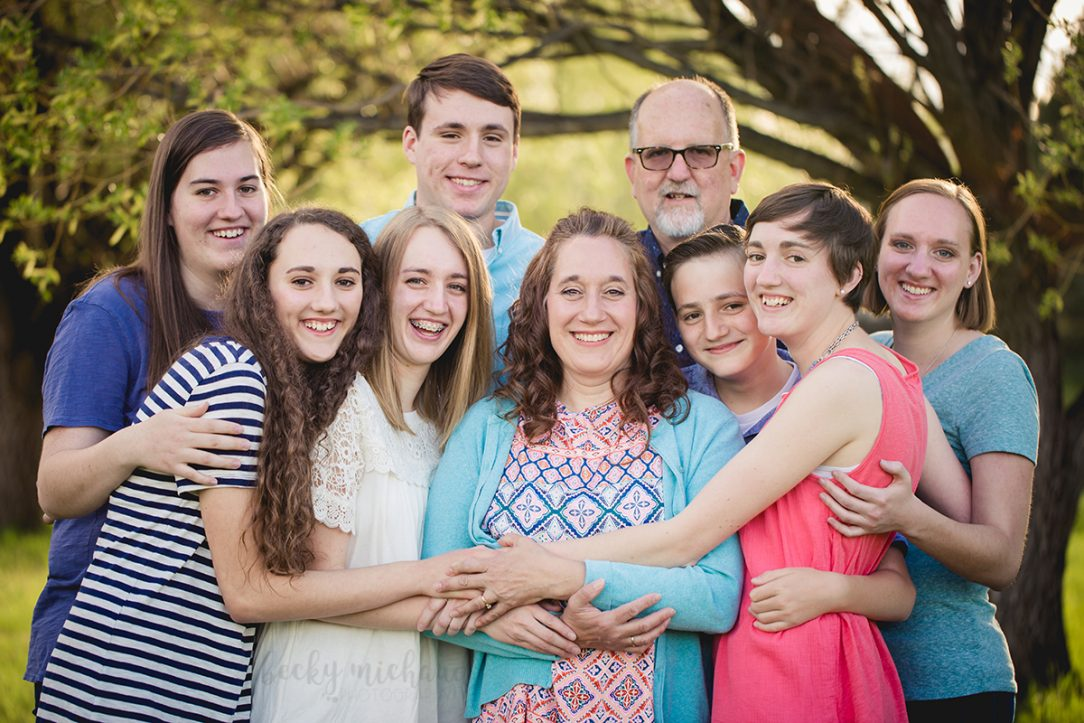 A big family shares a hug during their Fort Collins photo session