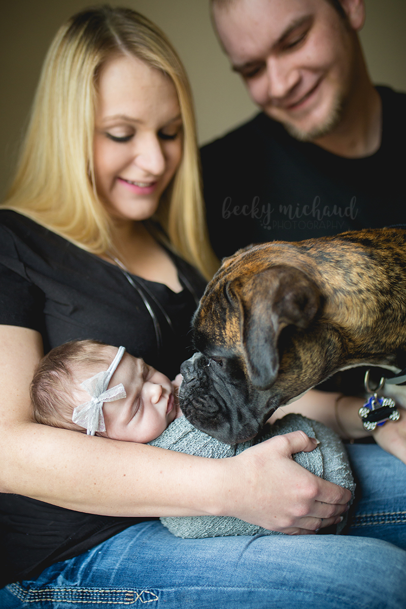 New parents smile at their baby girl in their Fort Collins home while their dog checks her out