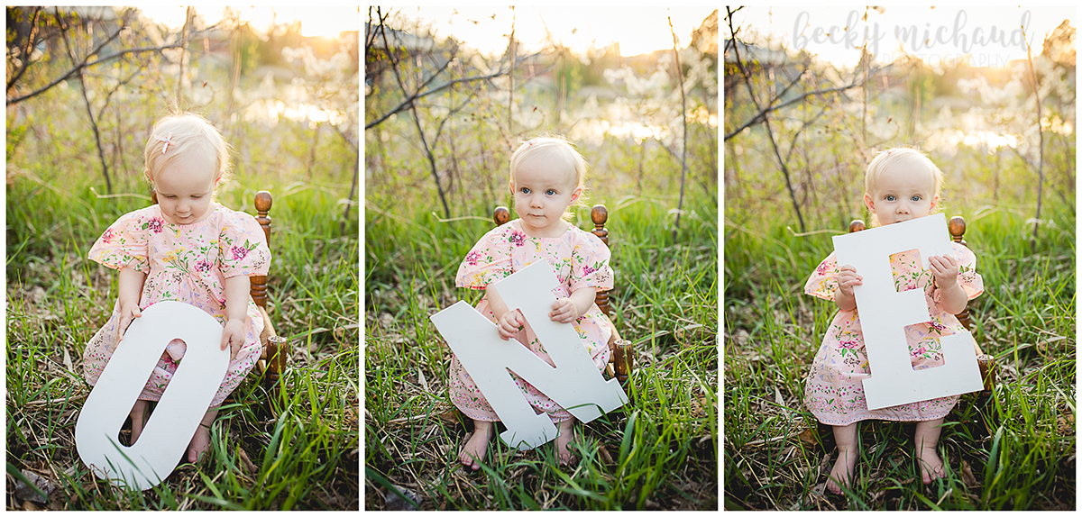 Collage of one year old photos taken in a park in Loveland, Colorado