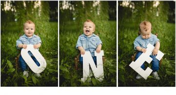 One year photos of a baby boy holding big white letters