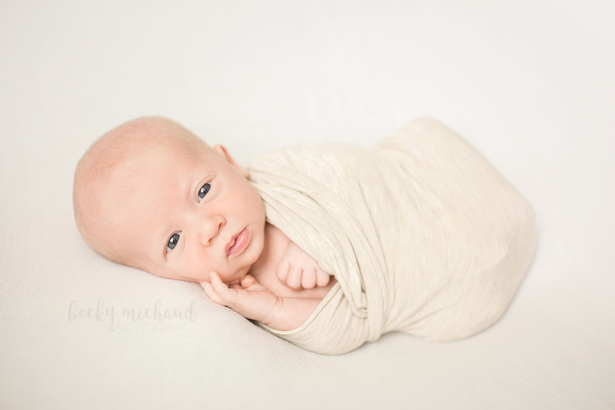 Newborn boy with eyes wide open poses for his baby portraits in his Johnstown Colorado home