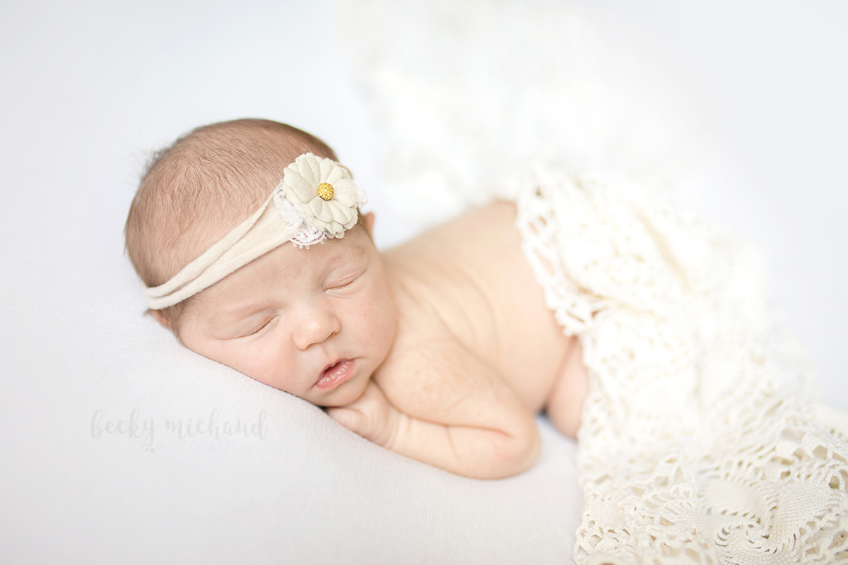 Simple neutral colored newborn portrait of a baby girl taken by Becky Michaud, Fort Collins newborn photographer
