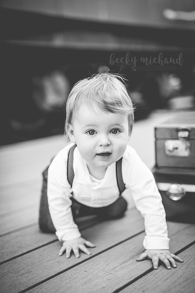 Photo of a baby in crawling at a train station in Windsor Colorado