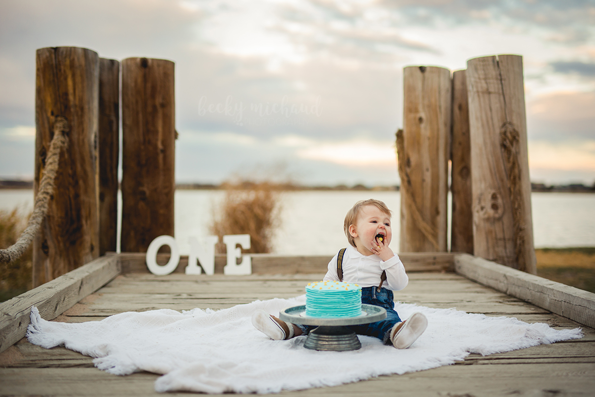 Outdoor Cake smash photo taken by Becky Michaud, Northern Colorado Baby Photographer