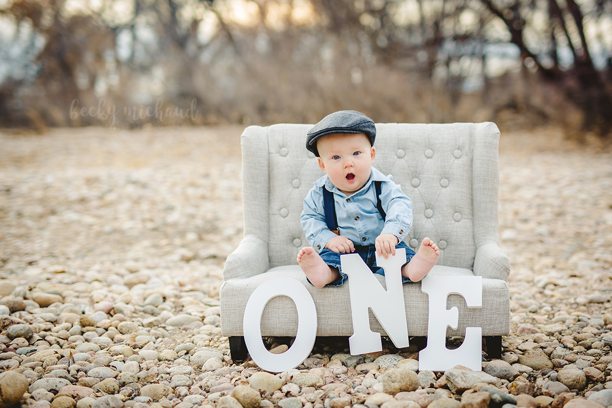 A baby boy in a one year old milestone photoshoot taken at a Fort Collins natural area