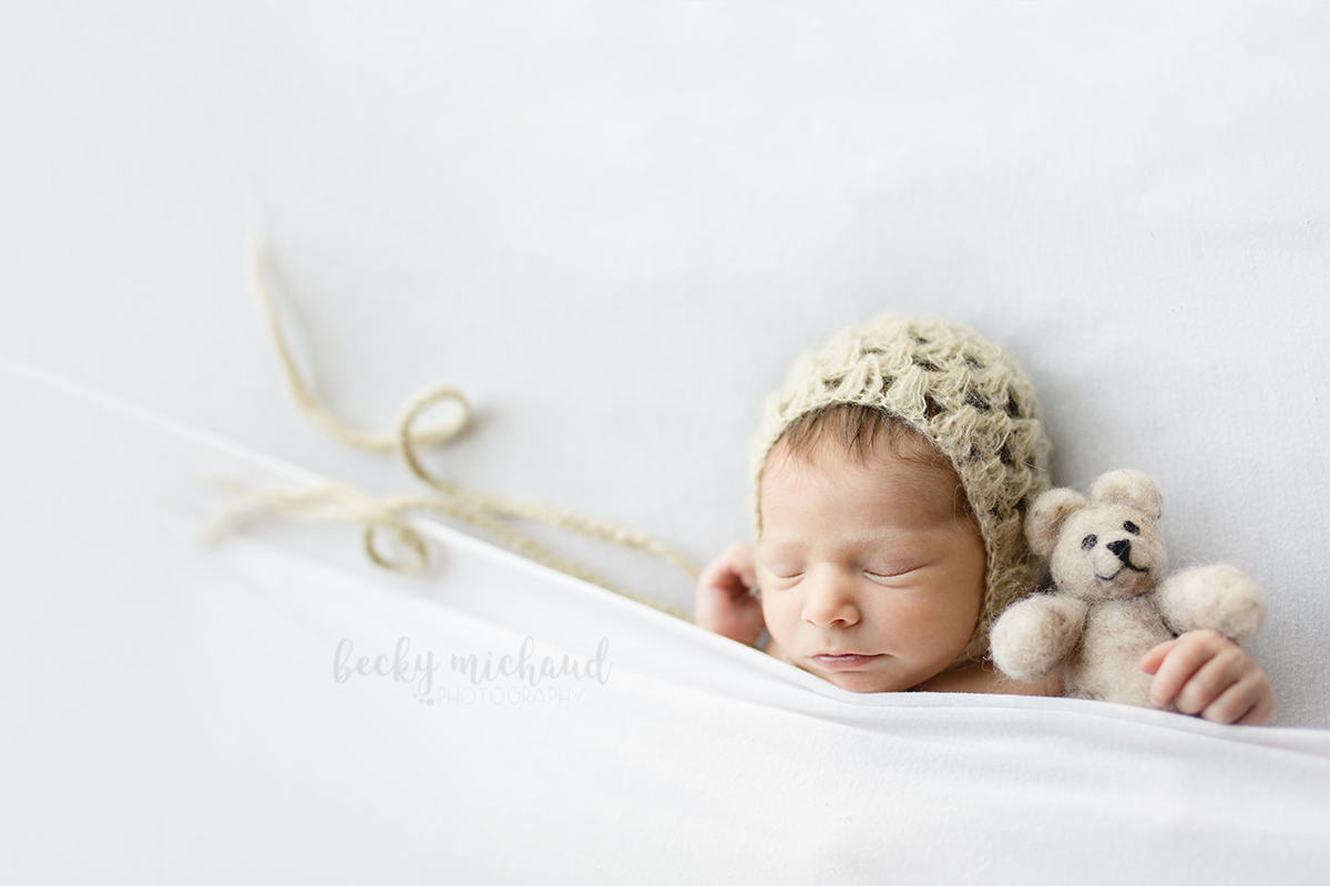 A newborn holds a stuffed bear while tucked under a blanket in her simple photo session in Northern Colorado