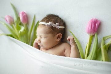 Baby girl tucked in with pink tulips during her newborn photo session in her home