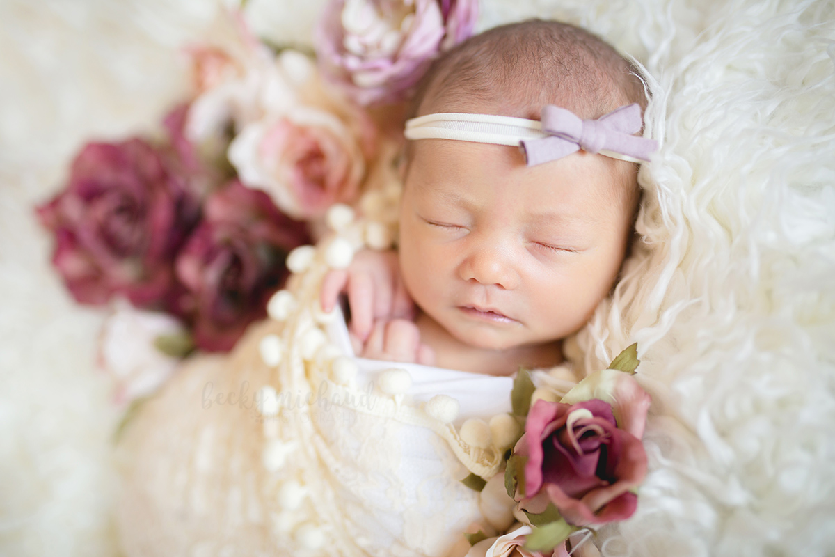 Newborn photo taken in Loveland, Colorado of a baby snuggled in with lace wrap with pink and mauve roses