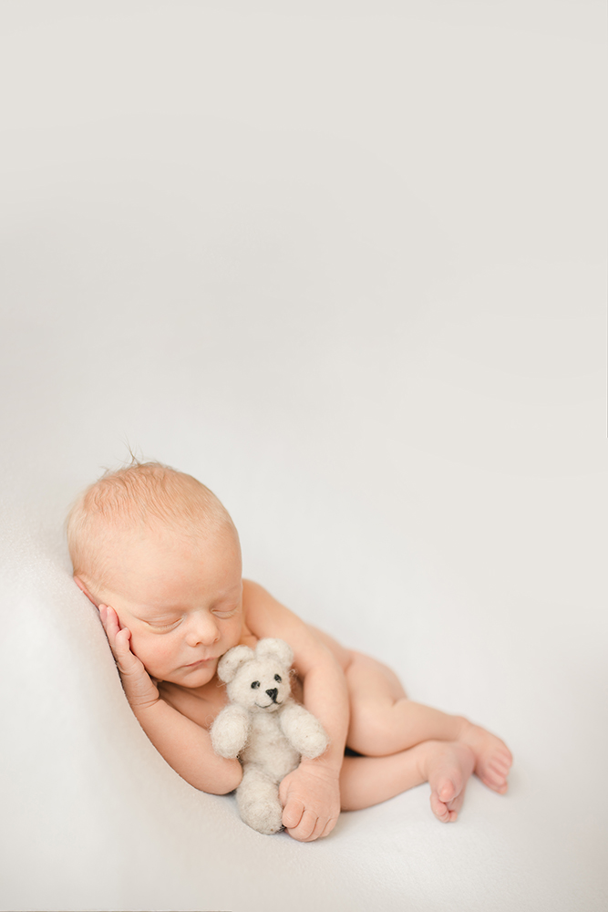 A newborn boy snuggles with a felted wool bear during his photography session in his home in Fort Collins, Colorado