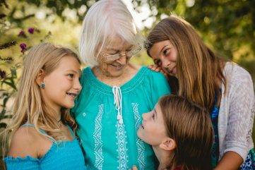 Three girls and their great greandmother in a photo taken by Becky Michaud, Northern Colorado photographer