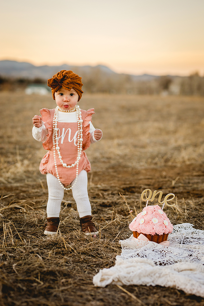 One year old baby poses with her cake in a northern Colorado natural area